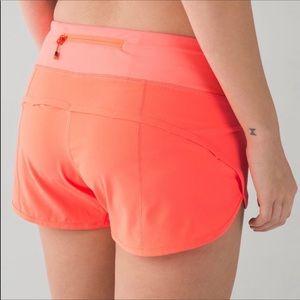 Lululemon Vibrant Orange Running Shorts Size 2